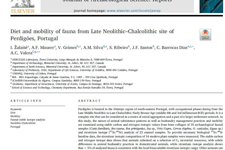 New study on the diet and mobility of Neolithic and Calcolithic faunas from Perdigões